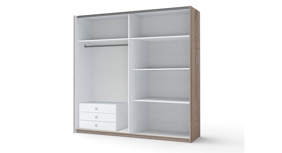 wizualizacje mebli produktu wnętrz szafy dwudrzwiowej