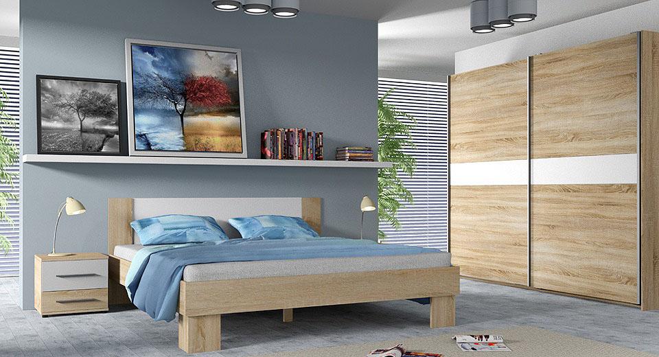 Aranżacja sypialni w kolorze sonoma z białymi wstawkami.