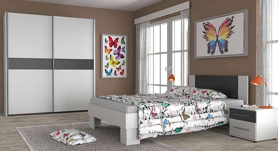 Wizualizacje mebli. Sypialnia w kolorze biało grafitowym.