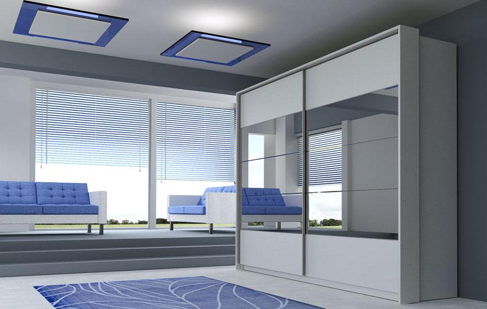 wizualizacje mebli szafy dwudrzwiowej z lustrzanymi frontami