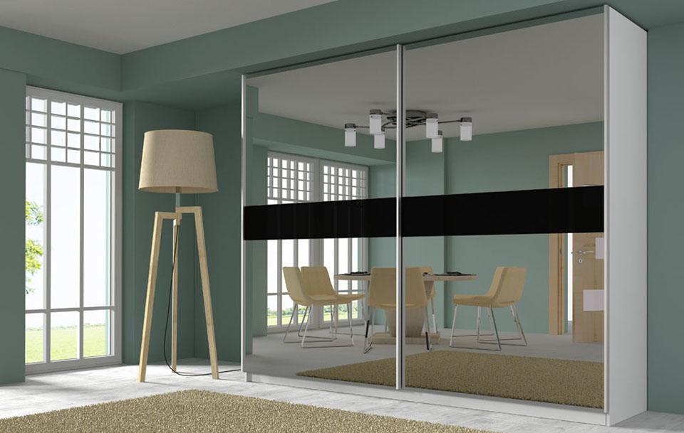 wizualizacje mebli szafy z frontami lustrzanymi